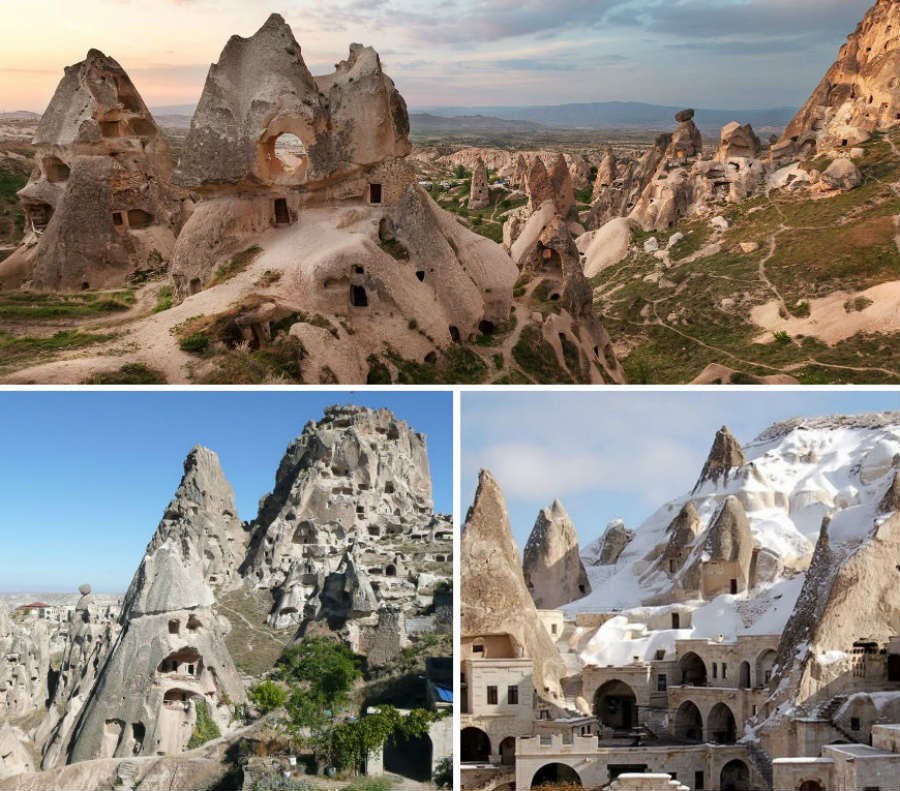 Uchisar is situated at the highest point in Cappadocia, The top of the Uchisar Castle, provides a magnificent panorama.