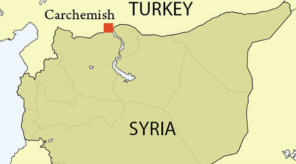 Location of Carchemish on the Syrian-Turkish border