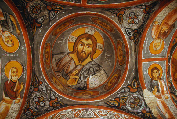 Fresco of Christ Pantocrator on the ceiling of Karanlık Kilise (Dark Church)