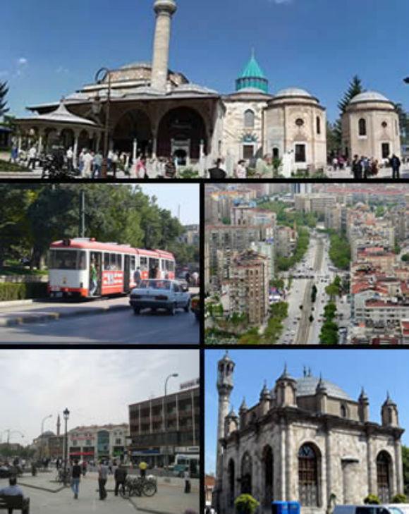 Top: Mavlana Museum, Middle left: Konya Tramway in Alaaddin Street, Middle right: Nalcaci Avenue in Seljcuklu District, Bottom left: Mawlana Mosque and downtown Beysehir Merkezi area, Bottom right: Aziziye Mosque