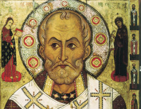 "St. Nicholas ""Lipensky"" (1294 Russian icon) Born 15 March 270 Patara, Lycia et Pamphylia, Asia Minor (modern-day Turkey) Died 6 December 343 (aged 73) Myra, Lycia"