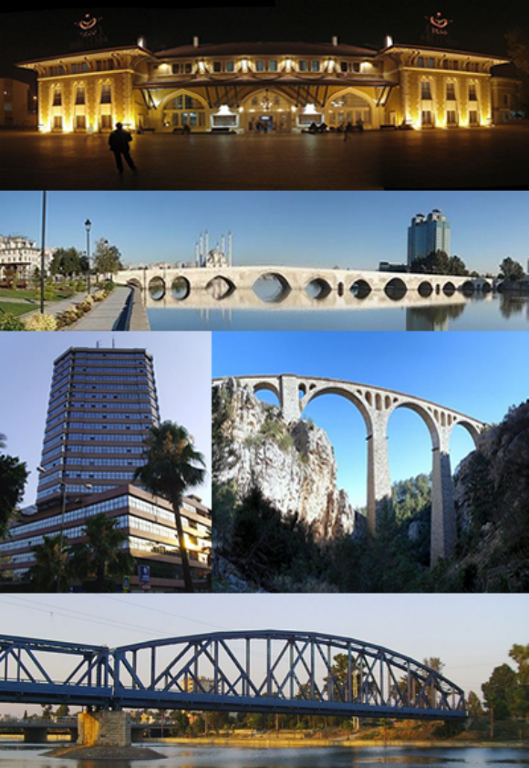 from top to bottom and from left to right: Adana station, Taşköprü (Adana), Adana Hospital, Varda Viaduct, Demirköprü