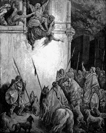The Death of Jezebel, engraving by Gustave Doré.