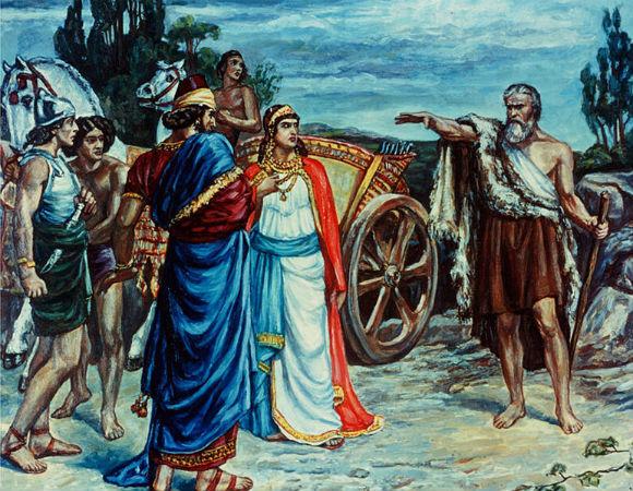 Jezebel and Ahab meeting Elijah, print by Sir Francis Dicksee (1853-1928)