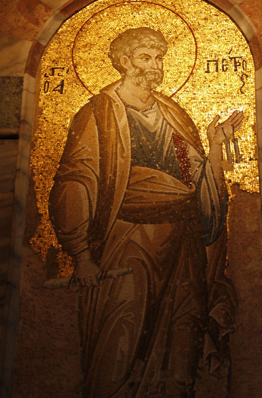 Medieval mosaic of Saint Peter in the Chora Church in Istanbul Turkey