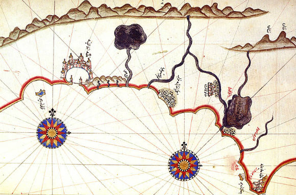 One of the maps (portolani) of Piri Reis, taken from the Kitab-i Bahriye, which Piri produced in several editions, supplementing in 1520, but integrating it into subsequent editions.