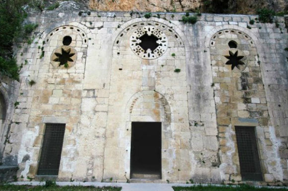 Facade of St. Peter's Grotto in Antakya, Turkey.