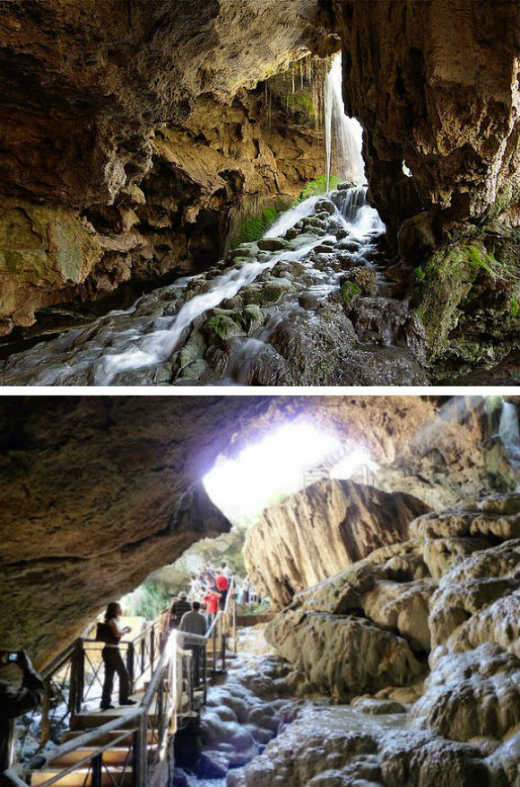 Kaklik Cave was created by an underground stream eating away the limestone and sulphurous rock of the region.