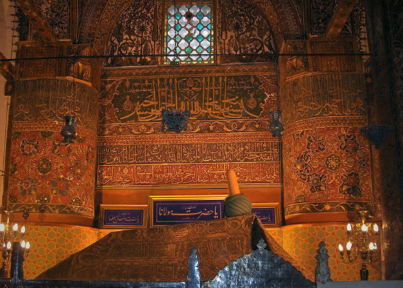 The tomb of Mevlana, revered by pilgrims.