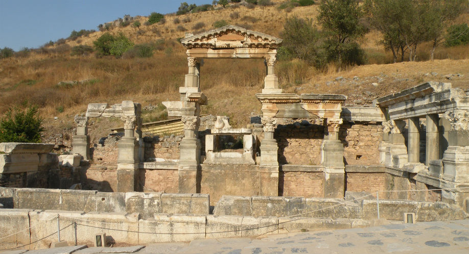 On the left of the Street of the Curetes beyond the Temple of Hadrian there was a two-storied building, a fountain bearing the name of the Roman Emperor Trajan.