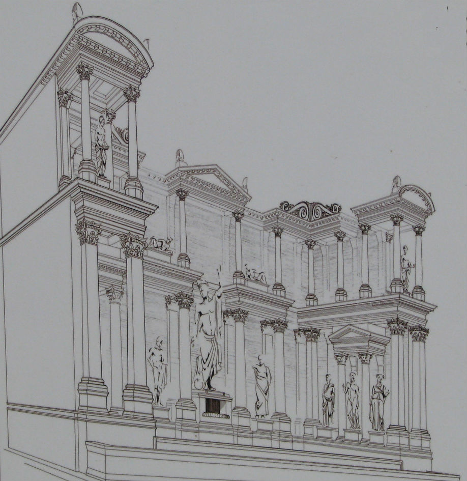 A reconstruction drawing of what the Trajan Fountain may have looked like in Roman times.
