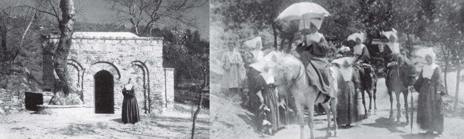 Sr. Marie in front of Mary's House & Sr. Marie and the sisters travelling to Mary's House by donkey.